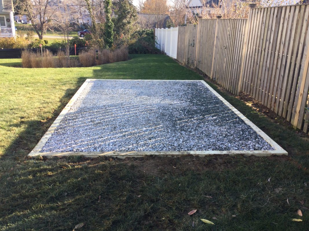 A gravel shed foundation in Annapolis, MD