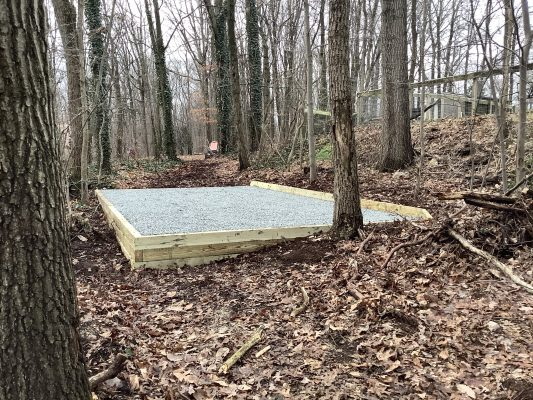 A gravel shed foundation in Gap, PA