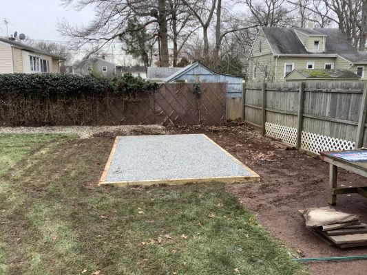 A gravel shed foundation in Piscataway, NJ