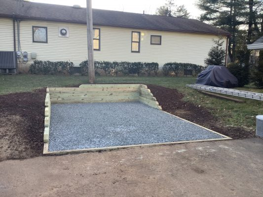 A gravel shed foundation in Eagleville, PA