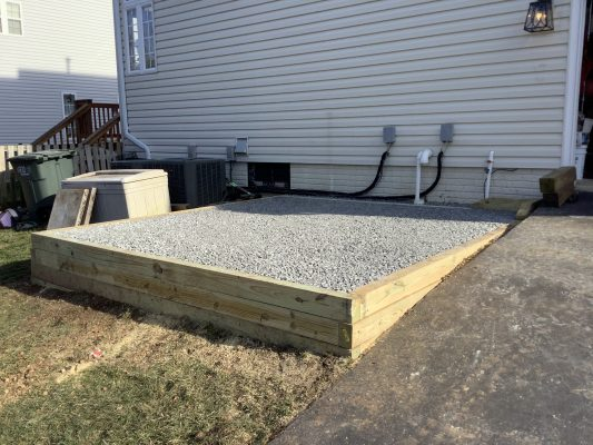 A gravel shed foundation in Centreville, VA