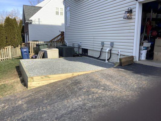 A gravel shed foundation in Centreville, VA