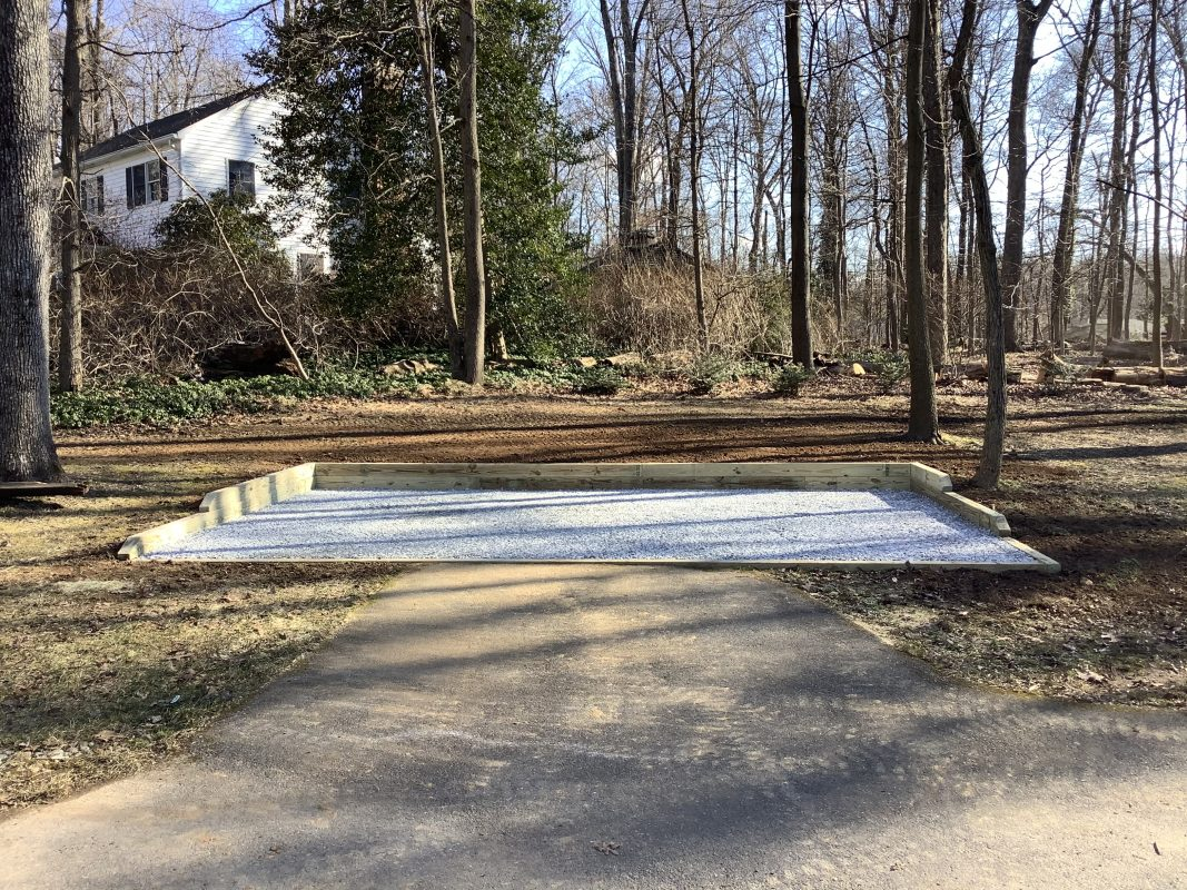 A gravel shed foundation in Glenwood, MD