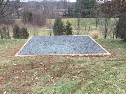 A gravel shed foundation in Royersford, PA