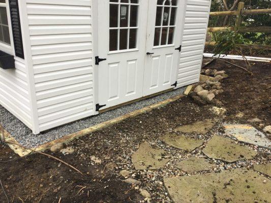 A gravel shed foundation in Berwyn, PA