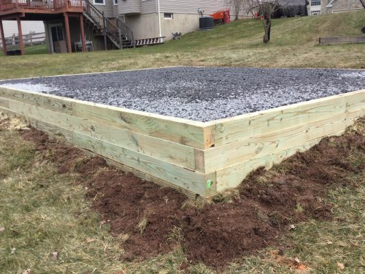 A gravel shed foundation in East Rockhill Twp., PA