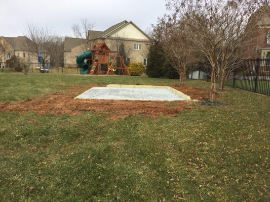 A gravel shed foundation in Oakton, VA