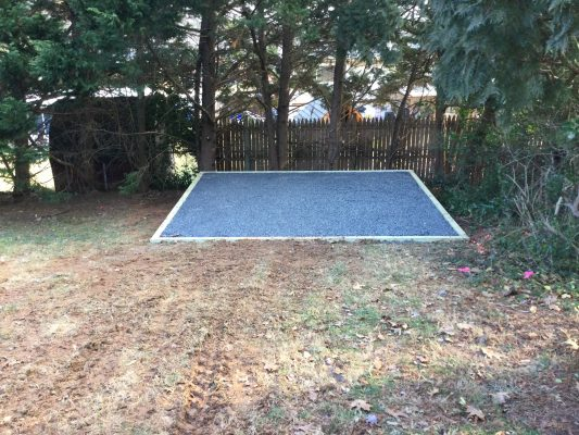 A gravel shed foundation in Rockville, MD