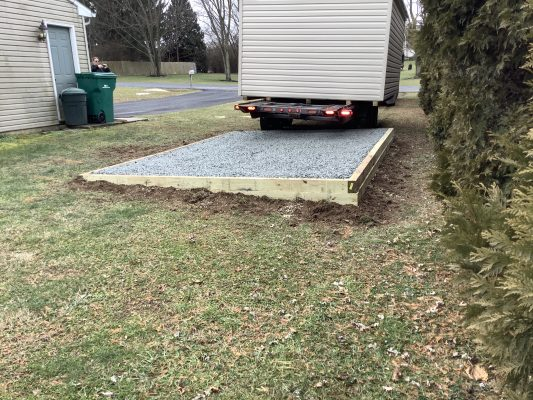 A gravel shed foundation in Harrisburg, PA