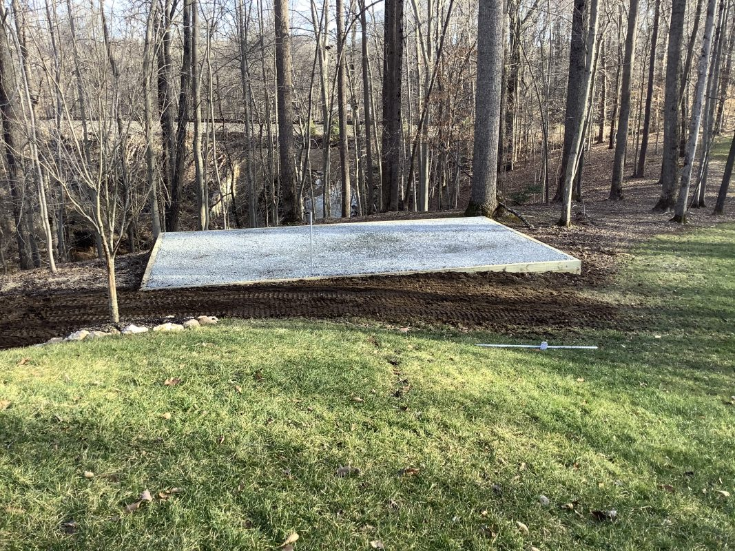 A gravel shed foundation in Fairfax Station, VA