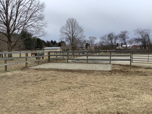 A concrete shed foundation in Millstone Township NJ