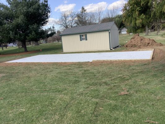A gravel shed foundation in Douglassville PA