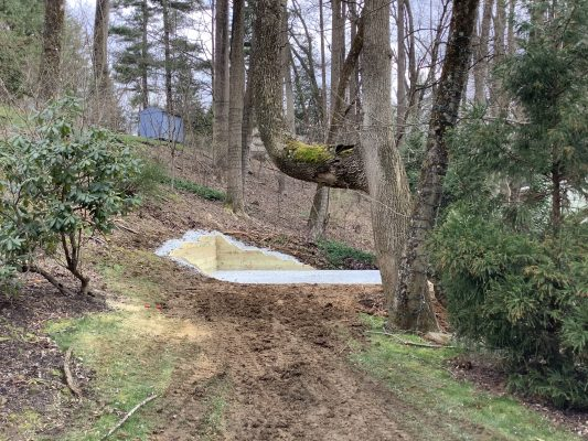 A gravel shed foundation in Media PA