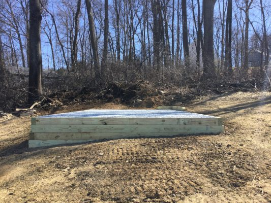 A gravel shed foundation in Gap PA
