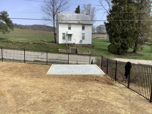 A gravel shed foundation in Aspers, PA