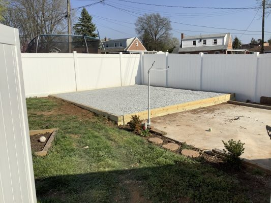 A gravel shed foundation in York PA