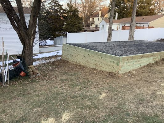 A gravel shed foundation in Feasterville PA