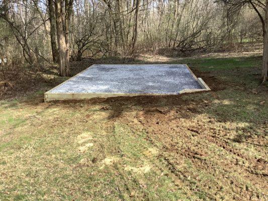 A gravel shed foundation in Lambertville, NJ