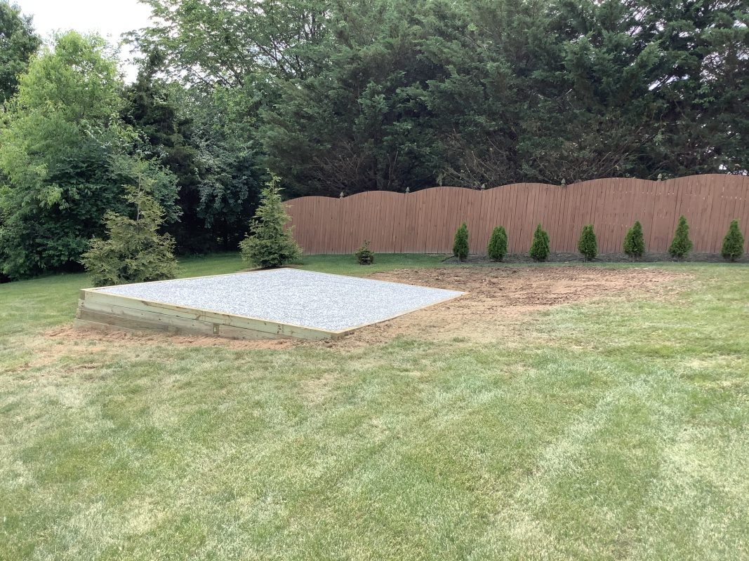 A gravel shed foundation in Hanover, PA