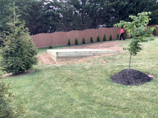 A crushed stone foundation for a shed in Hanover, PA
