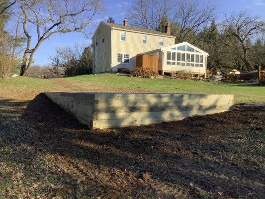A gravel shed foundation in Landenburg, PA