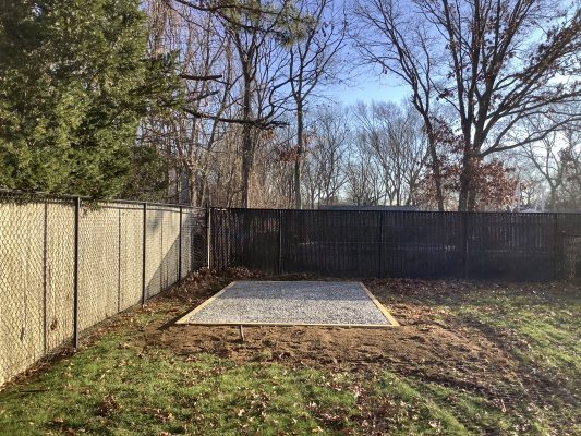 A gravel shed foundation in Medford, NY