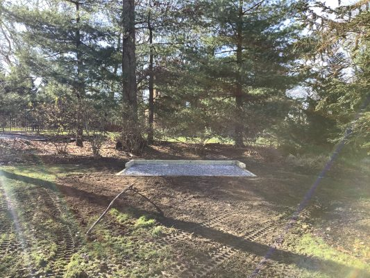 A gravel shed foundation in Northport, NY