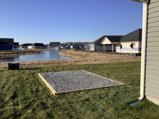 A gravel shed foundation in Milton, DE
