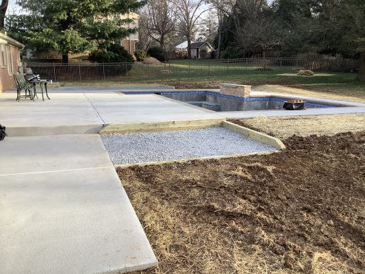 A Pool Equipment Pad foundation in Lansdale, PA