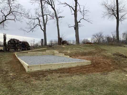 A gravel shed foundation in Hedgesville, WV