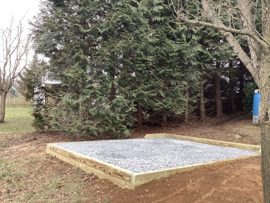 A gravel shed foundation in Westminster, MD