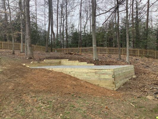 A gravel shed foundation in Fredericksburg VA