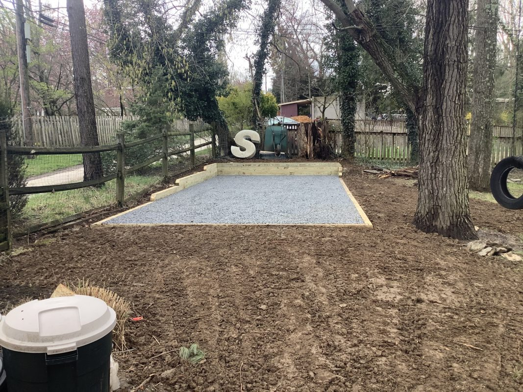 Gravel shed foundation in Baltimore MD