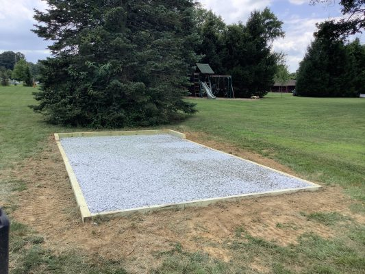 A crushed stone foundation for a shed in West Chester, PA