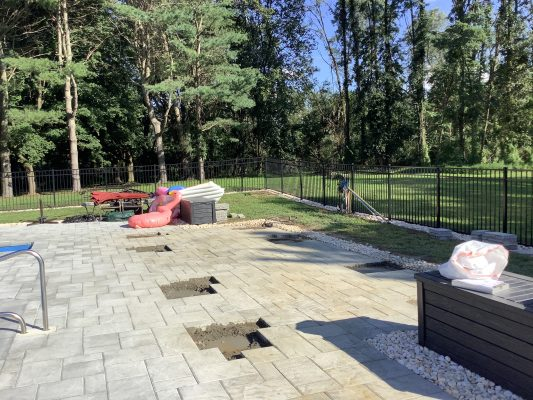 Concrete patio footers poured in Marlborough Township, PA