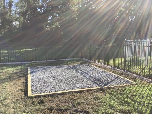 A gravel shed foundation built in Marlborough Township, PA