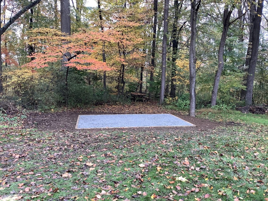 """A gravel shed foundation in Landenberg, PA"""