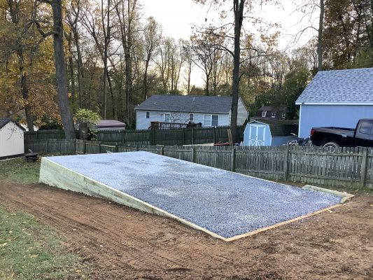 """A gravel shed foundation in Quarryville, PA"""