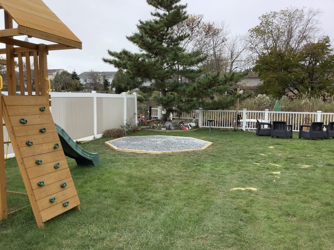 A gravel shed foundation in Baldwin, NY