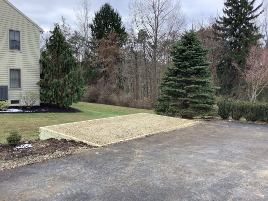 A gravel shed foundation in Bloomsburg, PA