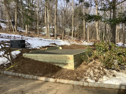 A gravel shed foundation in Basking Ridge, NJ
