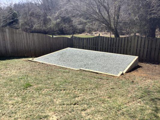 A gravel shed foundation in Manassas VA