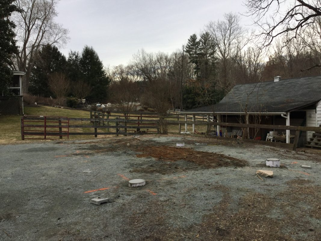 A concrete pier shed foundation in Potomac MD