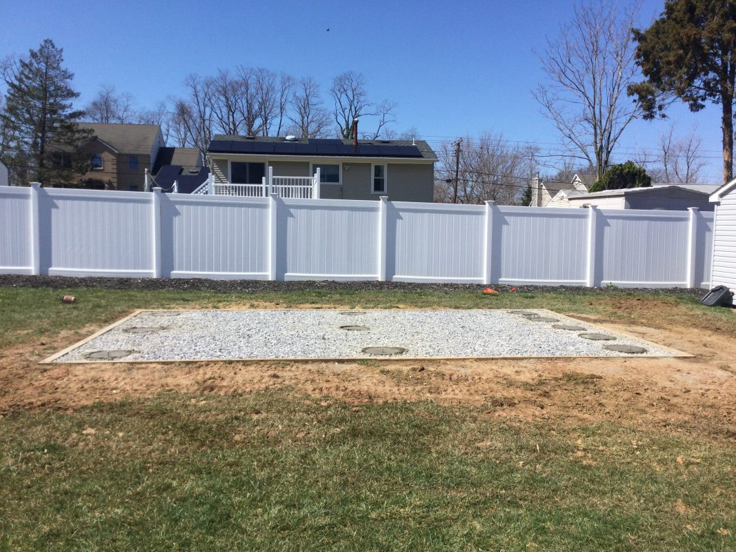 A concrete piers and gravel shed foundation in Hazlet, NJ