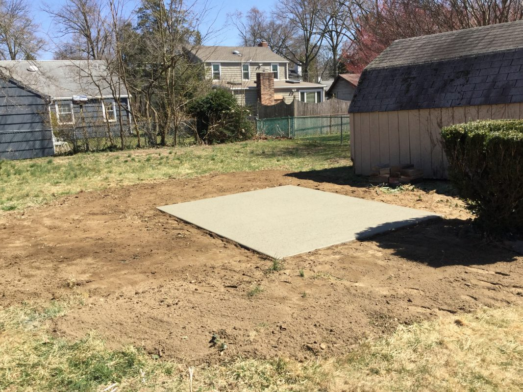 A concrete shed foundation in Moorestown NJ
