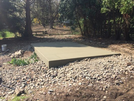 A concrete shed foundation in Reading PA