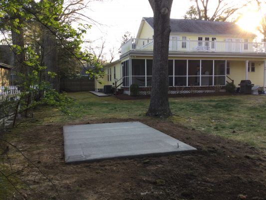 A concrete shed foundation in Rehoboth Beach, DE