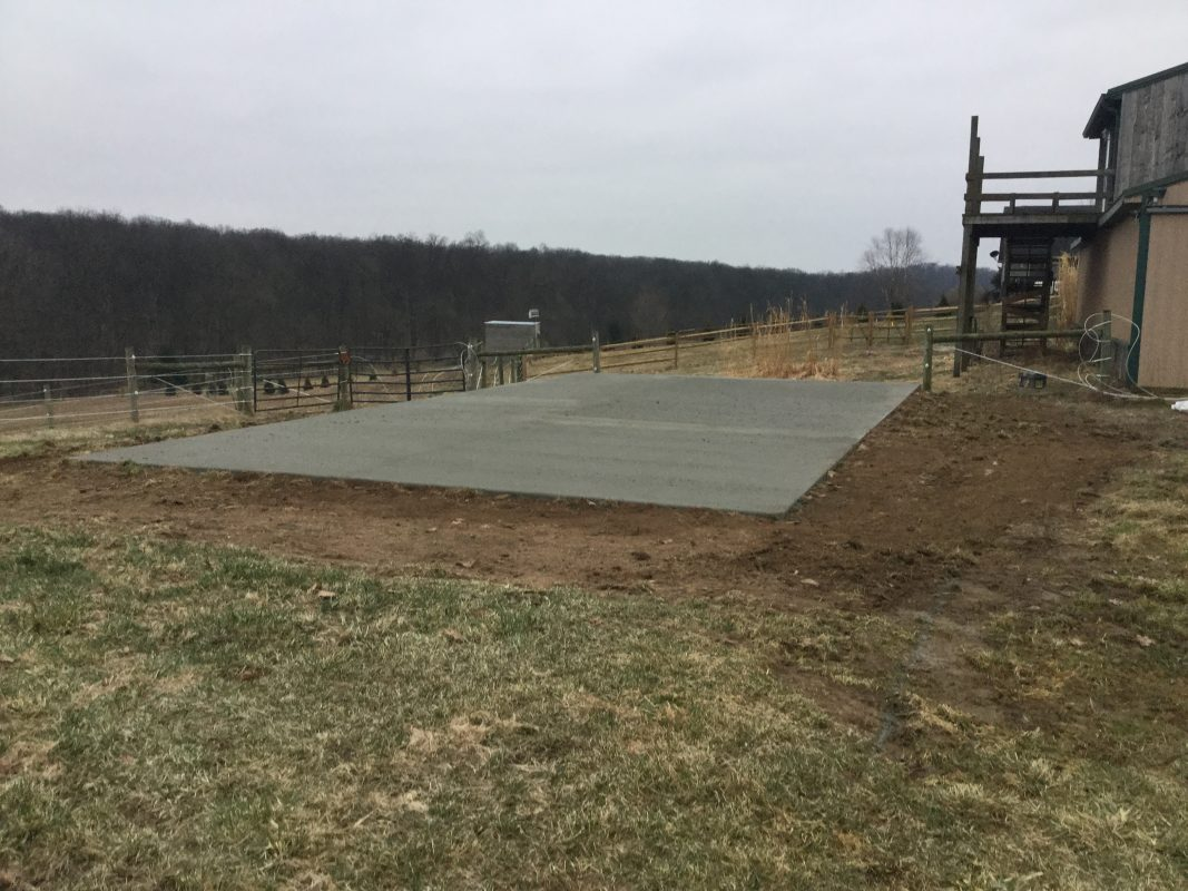 A concrete shed foundation in York Spring PA