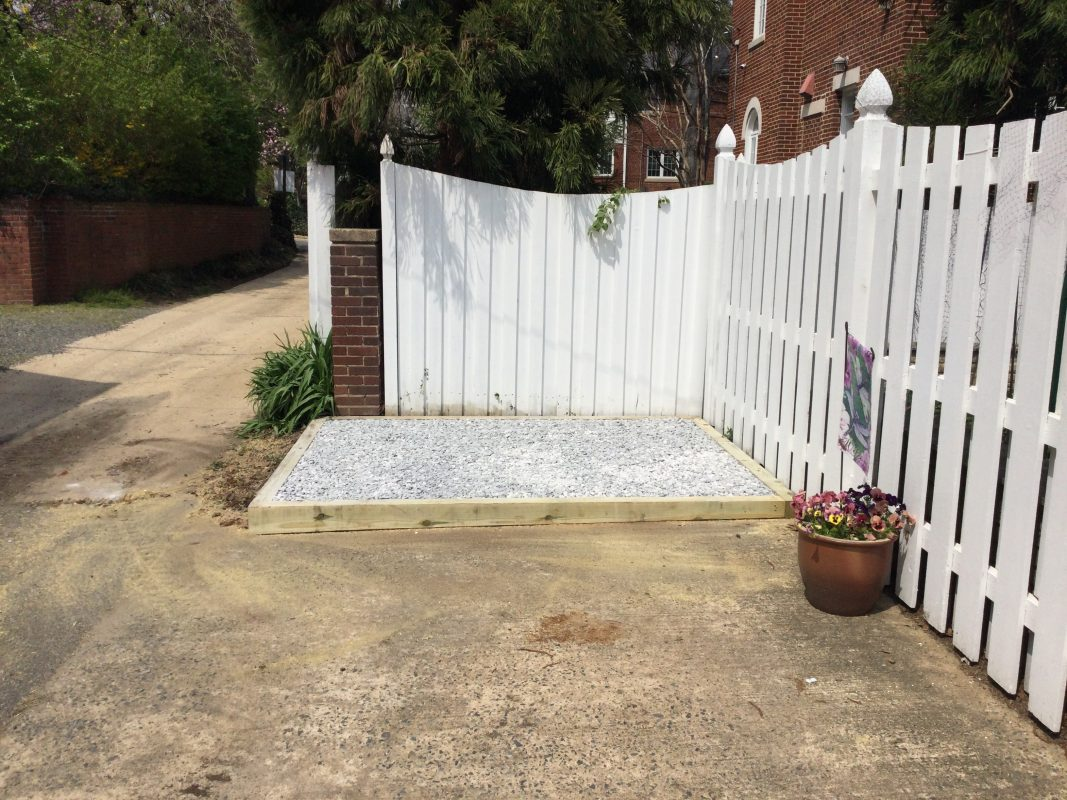 A gravel shed foundation in Alexandria, VA