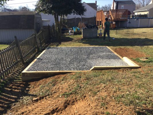 A gravel shed foundation in Baltimore MD